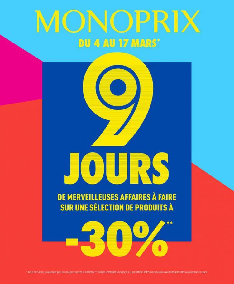 9 JOURS de merveilleuses affaires à faire : -30% sur une sélection de produits ! . Monoprix (2020-03-17-2020-03-17)