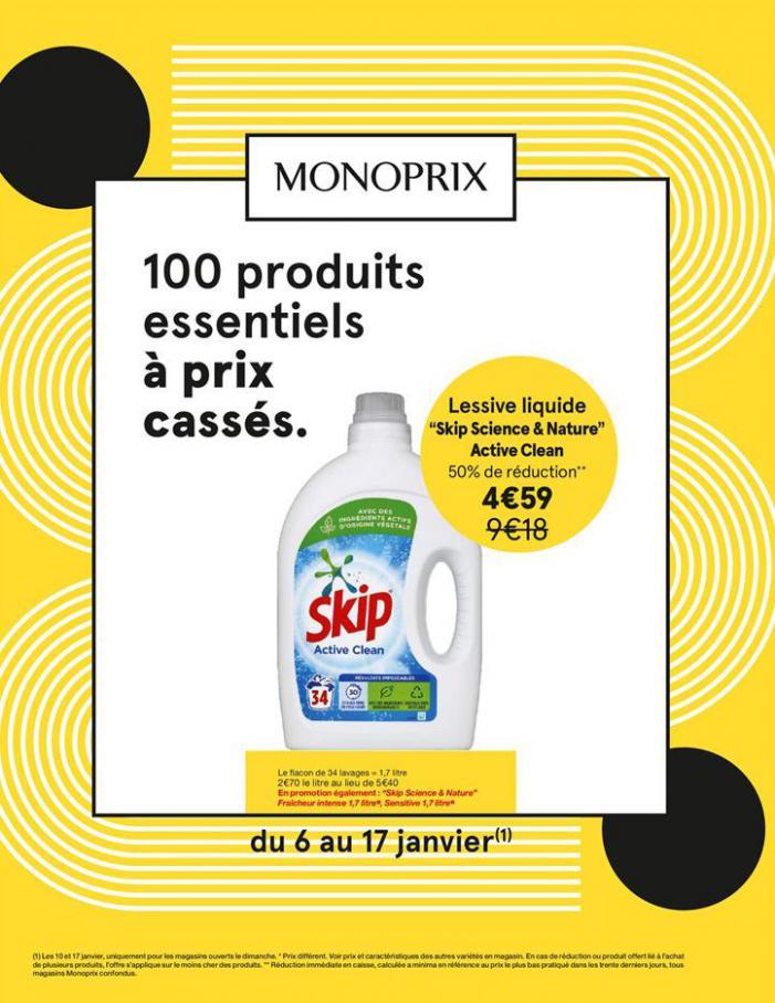 100 produits essentiels à prix cassés . Monoprix (2021-01-17-2021-01-17)